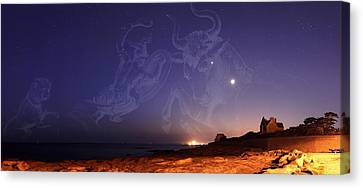Constellations In A Night Sky Canvas Print by Laurent Laveder