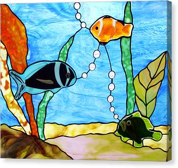 3 Fishes In The Sea Canvas Print by Jane Croteau