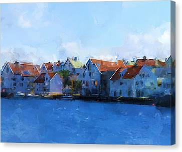 Haugesund Harbour Canvas Print by Michael Greenaway