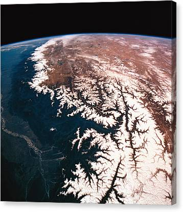 Landscape Of Earth Viewed From Space Canvas Print by Stockbyte