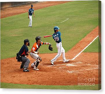 Professional Baseball Game In Taiwan Canvas Print by Yali Shi