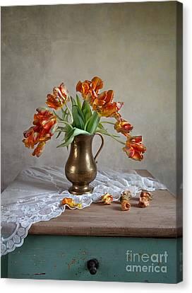 Still Life With Tulips Canvas Print by Nailia Schwarz