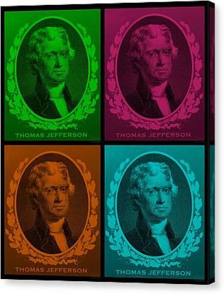 Thomas Jefferson In Quad Colors Canvas Print by Rob Hans