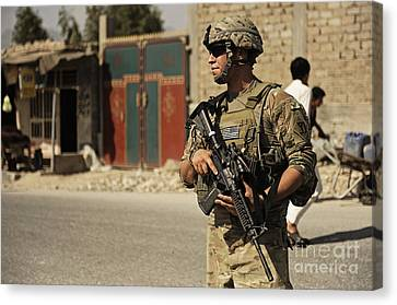 U.s. Army Specialist Provides Security Canvas Print by Stocktrek Images