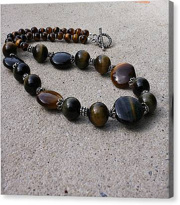 3595 Tigereye And Bali Sterling Silver Necklace Canvas Print by Teresa Mucha