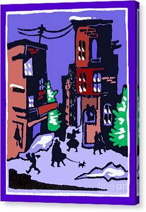Christmas Street Scene Canvas Print by Elinor Mavor