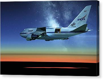 Sofia Airborne Observatory In Flight Canvas Print by Detlev Van Ravenswaay