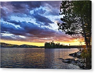 Dramatic Sunset At Lake Canvas Print by Elena Elisseeva
