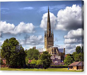 Norwich Cathedral Norfolk England Canvas Print by Darren Burroughs