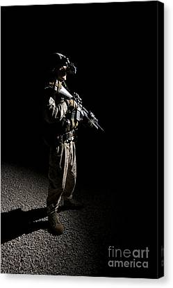 Partially Silhouetted U.s. Marine Canvas Print by Terry Moore