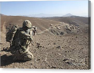 U.s. Army Soldier Provides Security Canvas Print by Stocktrek Images