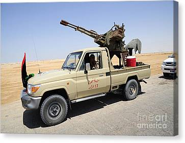 A Free Libyan Army Pickup Truck Canvas Print by Andrew Chittock