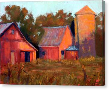 A Barn At Sunset Canvas Print by Cheryl Whitehall