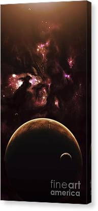 A Barren World Passes In Front Canvas Print by Kevin Lafin