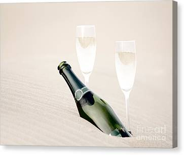 A Bottle Of Champagne With Two Glasses Canvas Print by Iryna Shpulak
