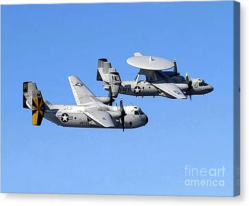 A C-2a Greyhound And A E-2c Hawkeye Canvas Print by Stocktrek Images
