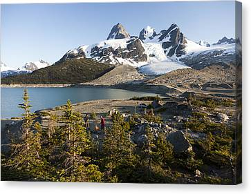 A Campsite Next To A Blue Glacier Fed Canvas Print by Taylor S. Kennedy