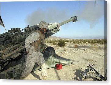 A Cannoneer Uses His Body To Pull Canvas Print by Stocktrek Images