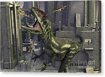 A Cloned Allosaurus Being Sedated Canvas Print by Mark Stevenson