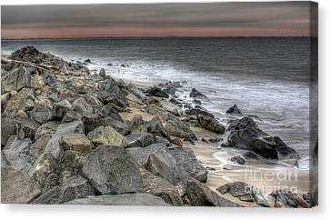 A Cold Day On A December Beach Canvas Print by Lee Dos Santos