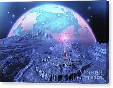 A Colony On An Alien Moon Canvas Print by Corey Ford