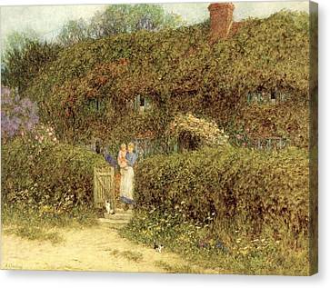 A Cottage At Freshwater Isle Of Wight Canvas Print by Helen Allingham
