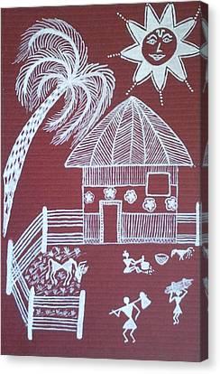 A Day In Warli Canvas Print by Samiksha Jain