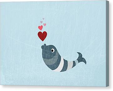 A Fish Blowing Love Heart Bubbles Canvas Print by Jutta Kuss
