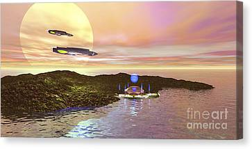 A Futuristic World On Another Planet Canvas Print by Corey Ford