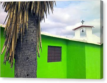 A Green Village Church Canvas Print by Raul Touzon