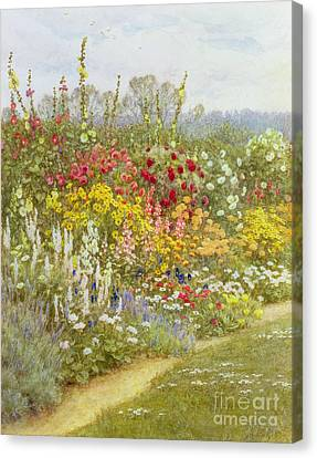 A Herbaceous Border Canvas Print by Helen Allingham