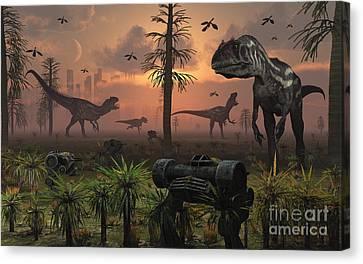 A Herd Of Allosaurus Dinosaur Cause Canvas Print by Mark Stevenson