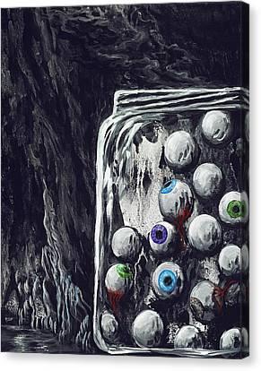 A Jar Of Eyeballs Canvas Print by David Junod