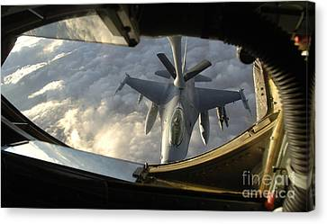 A Kc-135 Stratotanker Connects With An Canvas Print by Stocktrek Images