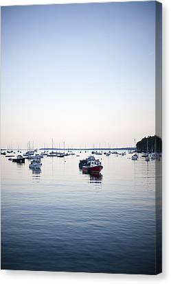 A Large Group Of Boats Float In A Maine Canvas Print by Hannele Lahti
