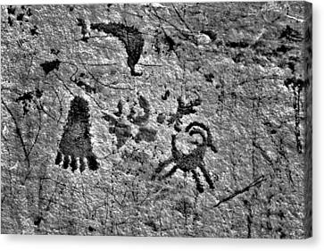 A Library Of Petroglyphs - Atlatl Rock Canvas Print by Christine Till