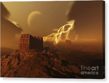 A Lightning Storm Over A Desert Lights Canvas Print by Corey Ford