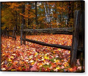 A Log Fence In A Carpet Of Fall Leaves Canvas Print by Chantal PhotoPix