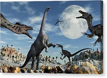 A Lone Camarasaurus Dinosaur Canvas Print by Mark Stevenson