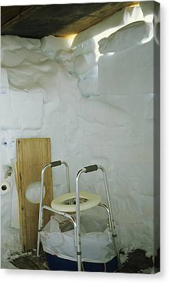 A Makeshift Bathroom Is Set Canvas Print by Gordon Wiltsie