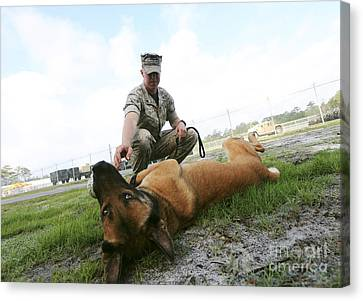 A Military Working Dog Handler Takes Canvas Print by Stocktrek Images