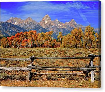 A Moment In Wyoming In Autumn Canvas Print by Jeff R Clow