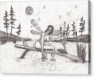 A Moment With The Moon... - Sketch Canvas Print by Robert Meszaros