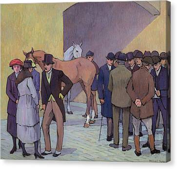 A Morning At Tattersall's Canvas Print by Robert Polhill Bevan