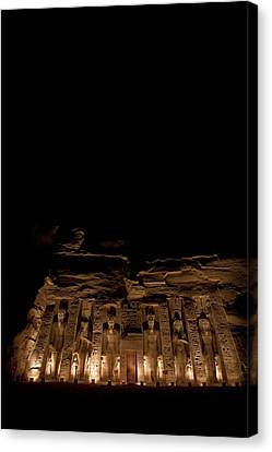 A Nighttime View Of Nefertaris Temple Canvas Print by Taylor S. Kennedy