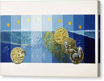 A Painting Depicts The Tiny Life Canvas Print by Davis Meltzer