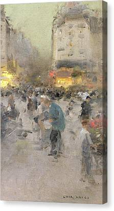 A Paris Street Scene Canvas Print by  Luigi Loir