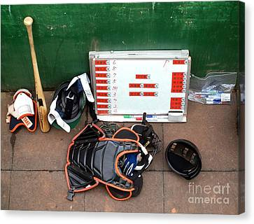 A Peak Into The Dugout During A Baseball Game Canvas Print by Yali Shi