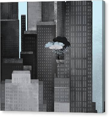 A Person On A Skyscraper Under A Storm Cloud Getting Rained On Canvas Print by Jutta Kuss