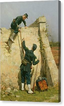 A Quick Escape Canvas Print by Etienne Prosper Berne-Bellecour